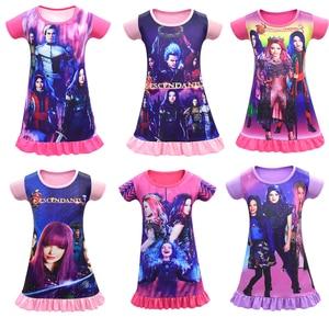 Summer lovely Kids Descendants 3 Evie Cosplay Costume Printed Dress Girls Halloween Mal Dress For 4-12 Year Old Girls