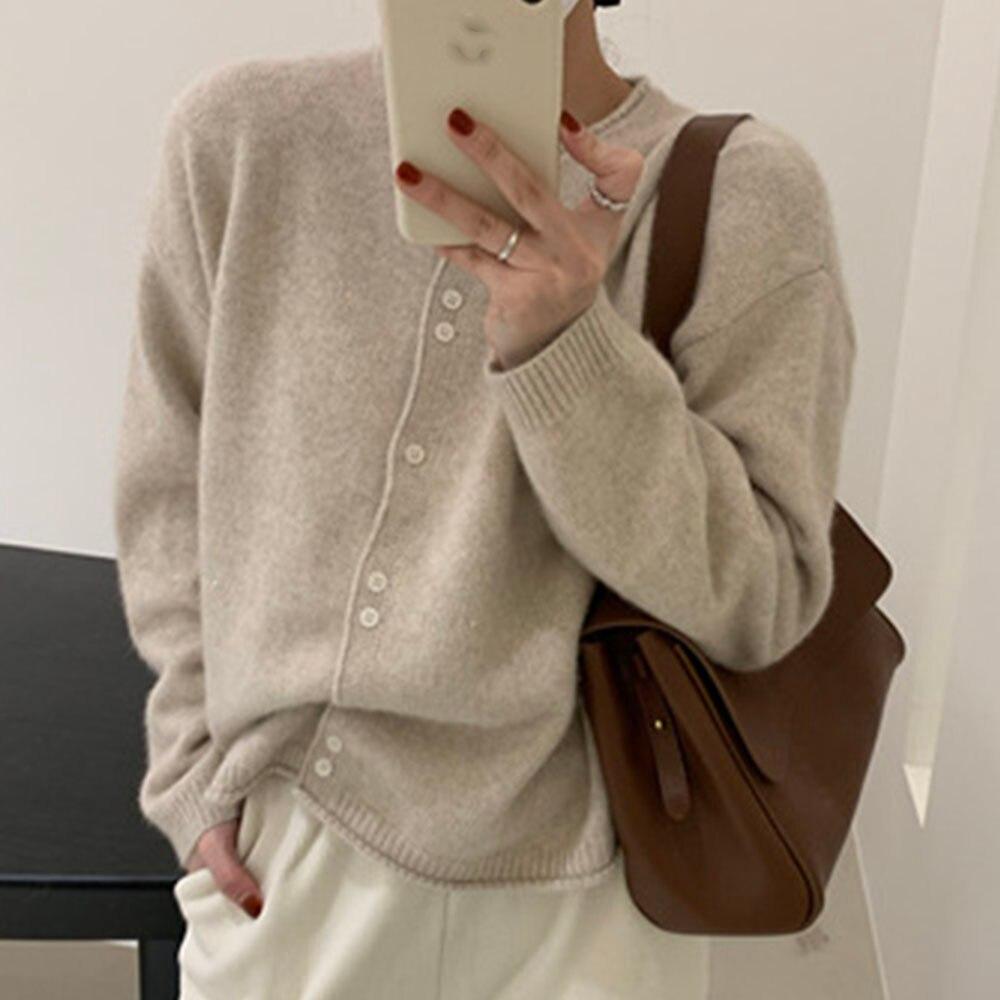 W koreańskim stylu szykowny sweter kobiet jesień zima z długim rękawem bluzki damskie Japan Style dzianinowe swetry 2021 główna ulica Kniwear Camel