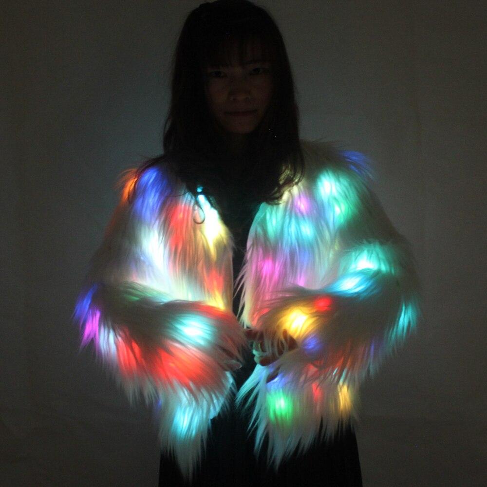 Luminoso LED invierno suéter piel artificial Navidad Halloween Show de baile Noche de talla grande abrigo de piel prendas de vestir