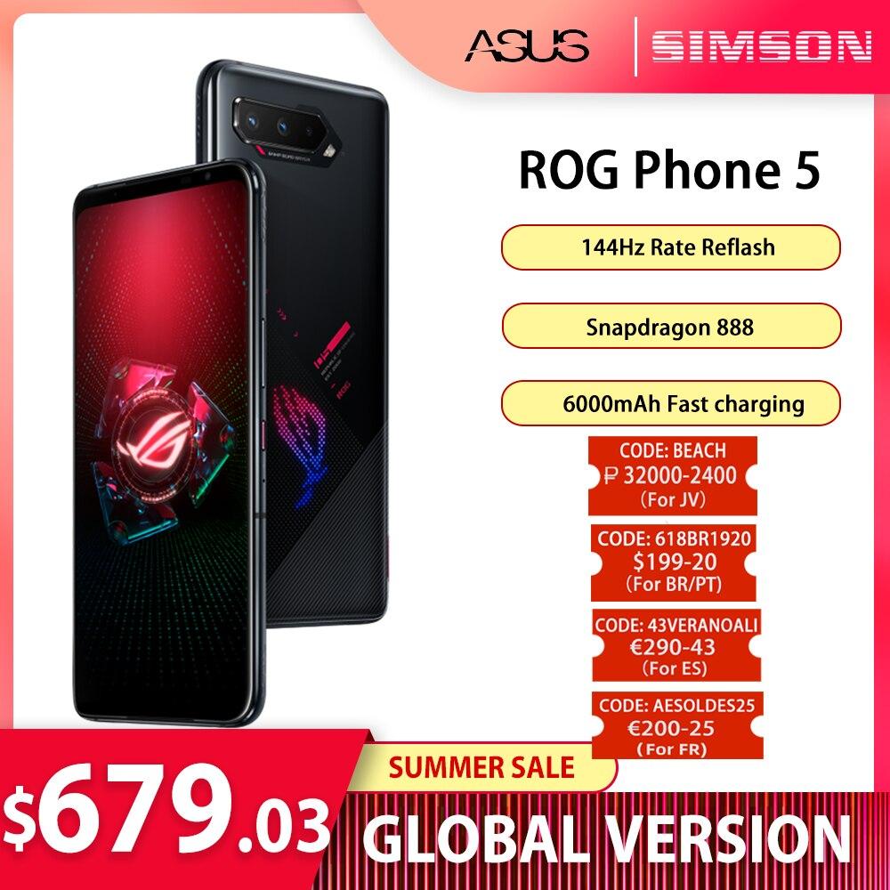 ASUS ROG Phone 5 глобальная версия 5G игровой телефон 8/12/16GB Оперативная память 128/256 Встроенная память 6000 мА/ч, 65 Вт NFC OTA Update активно-матричные осид, Эк...