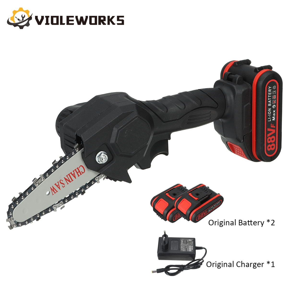 4 Inch 88V 1080W Mini Electric Chain Saw With 2PC Battery Rechargeable One-handed Woodworking Pruning Garden Tool EU Plug