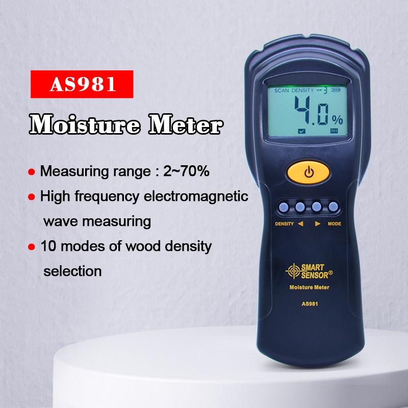 Medidor de humedad de madera OUTEST Digital, higrómetro, medidor de humedad, madera/cartón, medición rápida y precisa de microondas con alarma AS981