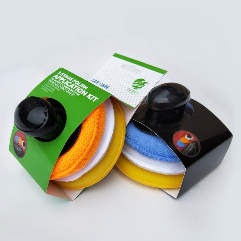 3+1Car Wash Polishing Waxing Sponge Set Ultra Fine Refined Foam Applicator Auto Care Tools car detailing cleaning polishing pad недорого