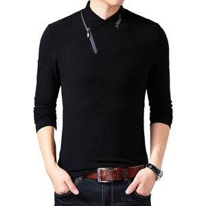 2021 New Style Cotton Men's T-shirt Long Sleeve T Shirt Men Solid Color Zipper Print Collar Oversized T Shirt