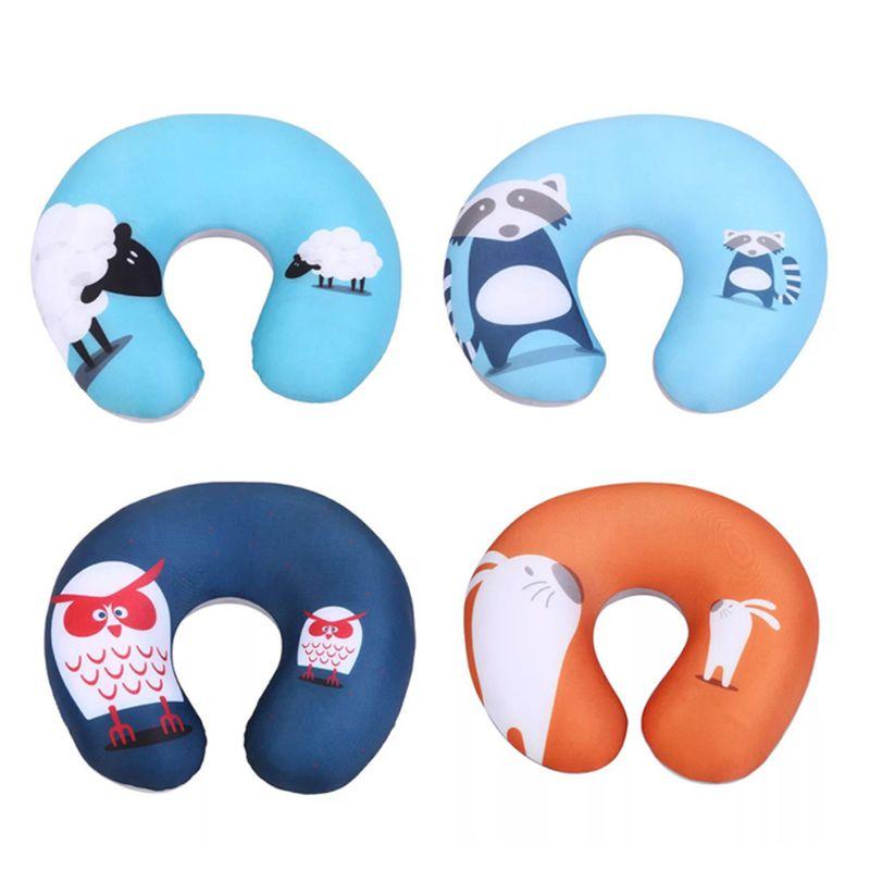 Comfortable Cartoon Animal Foam Particle Printing U - pillow Neck Care Travel Pillow Automatic Neck
