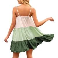 ropalia sexy stitching colored vest dress spaghetti strap dress women summer beach camisole dresses