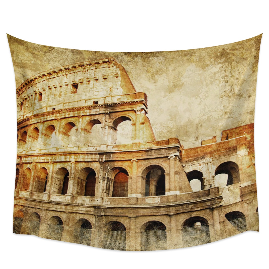 Italiano Romano Retro estilo ruinas decoración de pared colcha arte de pared ropa de cama cortina pañuelo lanzar toalla Muebles personalizados estera de Yoga