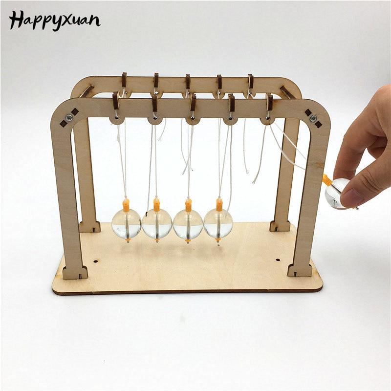 Happyxuan DIY Newton péndulo Cradle niños Simple prueba de la física juguete enseñanza del SIDA escuela ciencia Kit de Proyecto Educativo
