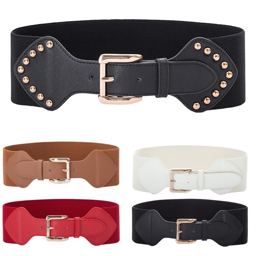 Cinturón de cuero PU elástico con hebilla clásica de Grace Karin cinturón de cintura ancha para mujer de nueva moda 2020 para mujer