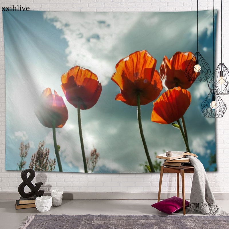 Настенный гобелен, Яркие маки, цветок, фон, декоративная настенная Подвеска для гостиной, спальни, домашний декор 100x150 см