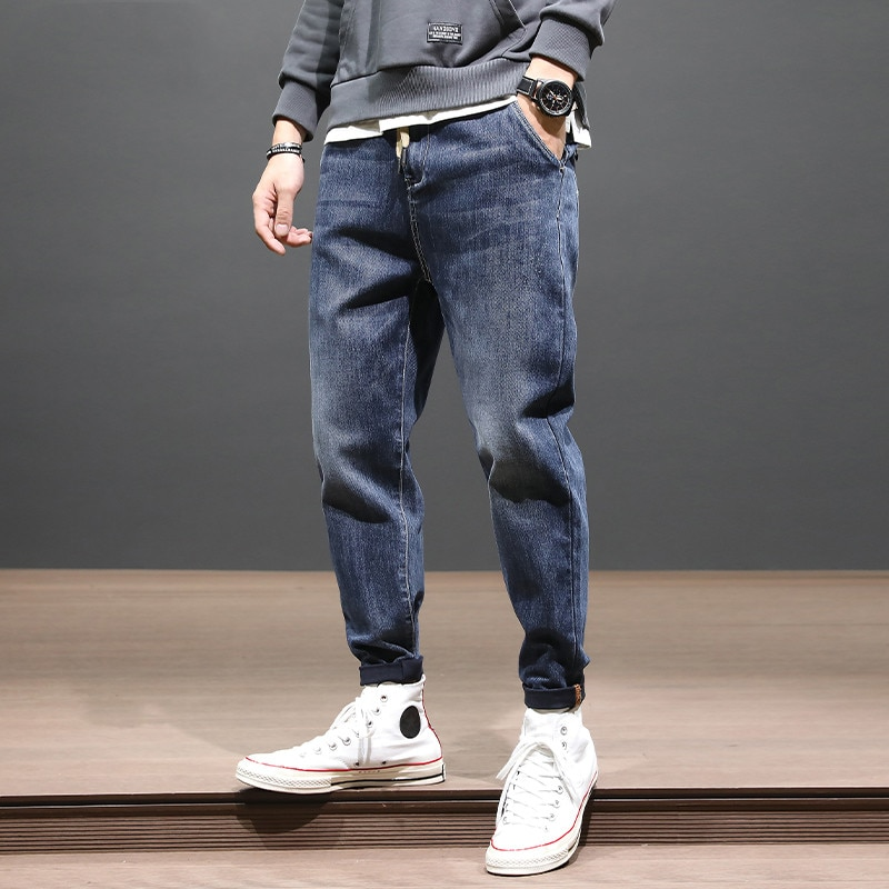 Autumn Leisure Jeans Men 'S Loose Large Size Stretch Skinny Trousers Korean Style Trendy Elastic Waist All-Matching Harem Pants