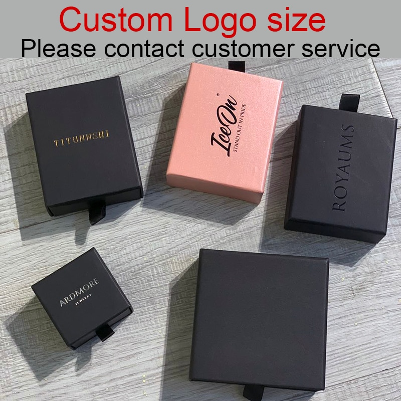 custom Logo design Box Necklace Bracelet Earrings Jewelry Packaging Display Pull Out Wholesale Bulk 9x9x3.2cm necklace packaging