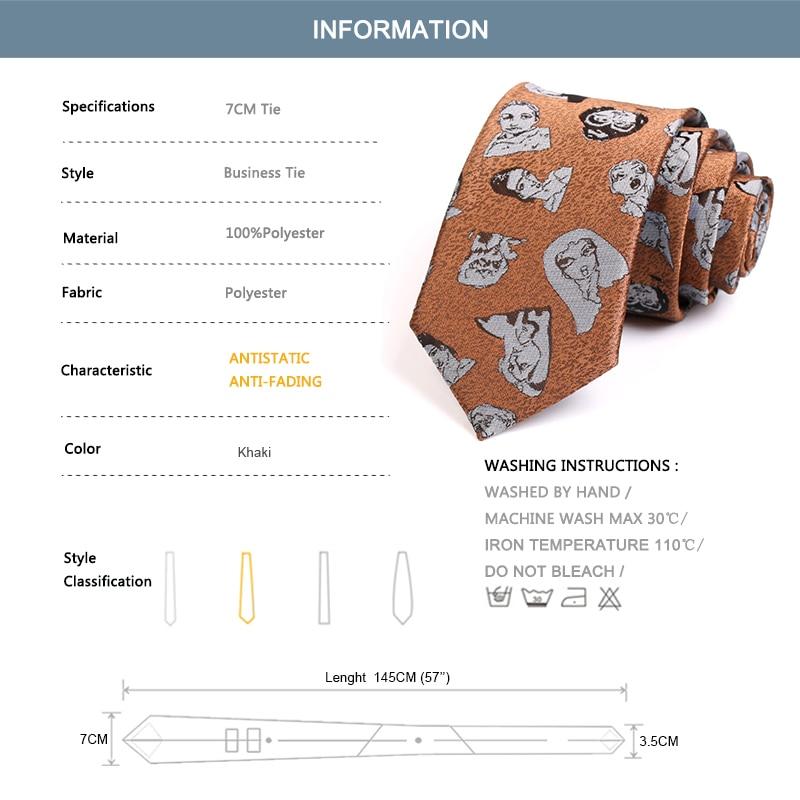 New Design Fashion Causal Head Portrait Print Ties High Quality 7CM Orange Tie For Men Business Suit Work Necktie With Gift Box