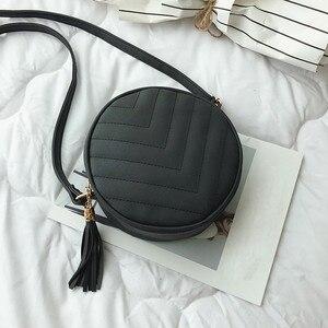 Women Bag Zipper Solid Color Tassel Shoulder Bags Messenger Bag Phone Ladies Round Crossbody Bag For Women #YJ