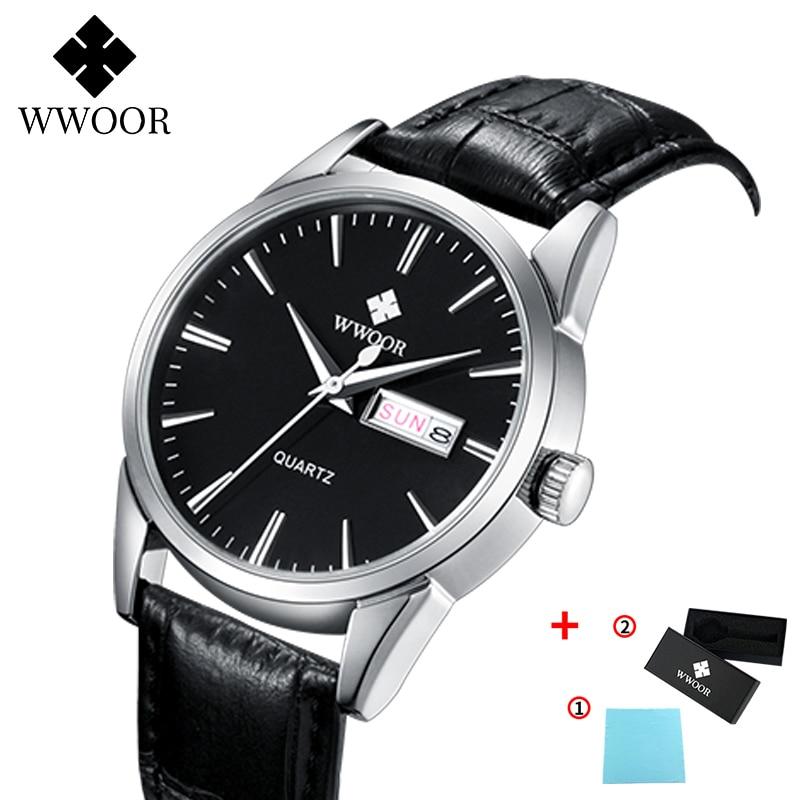 WWOOR 2020 New Quartz Watch Men Top Brand Luxury Fashion Leather Date Clock+Box Business Man Wristwatch Hodinky RelogioMasculino