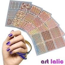 12 feuilles/ensemble Nail Art creux Laser autocollant pochoir Gel ongle vinyle pointe transfert Guide modèle ongles décalcomanies Kit décalcomanie décoration