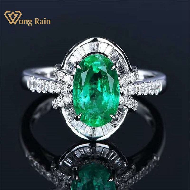 Wong Rain Vintage 100% 18K Solid Gold 1.8 CT Natural Emerald Gemstone Wedding Engagement Rings Customized Rings Fine Jewelry