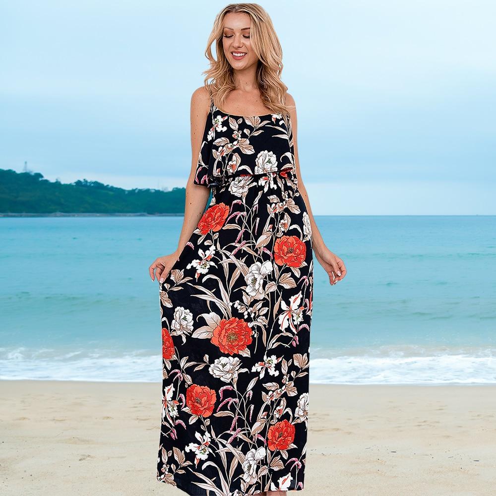 JHBeute Summer Floral Sleeveless Suspender Dress Large Casual Womens Big Size Robe Print Beach