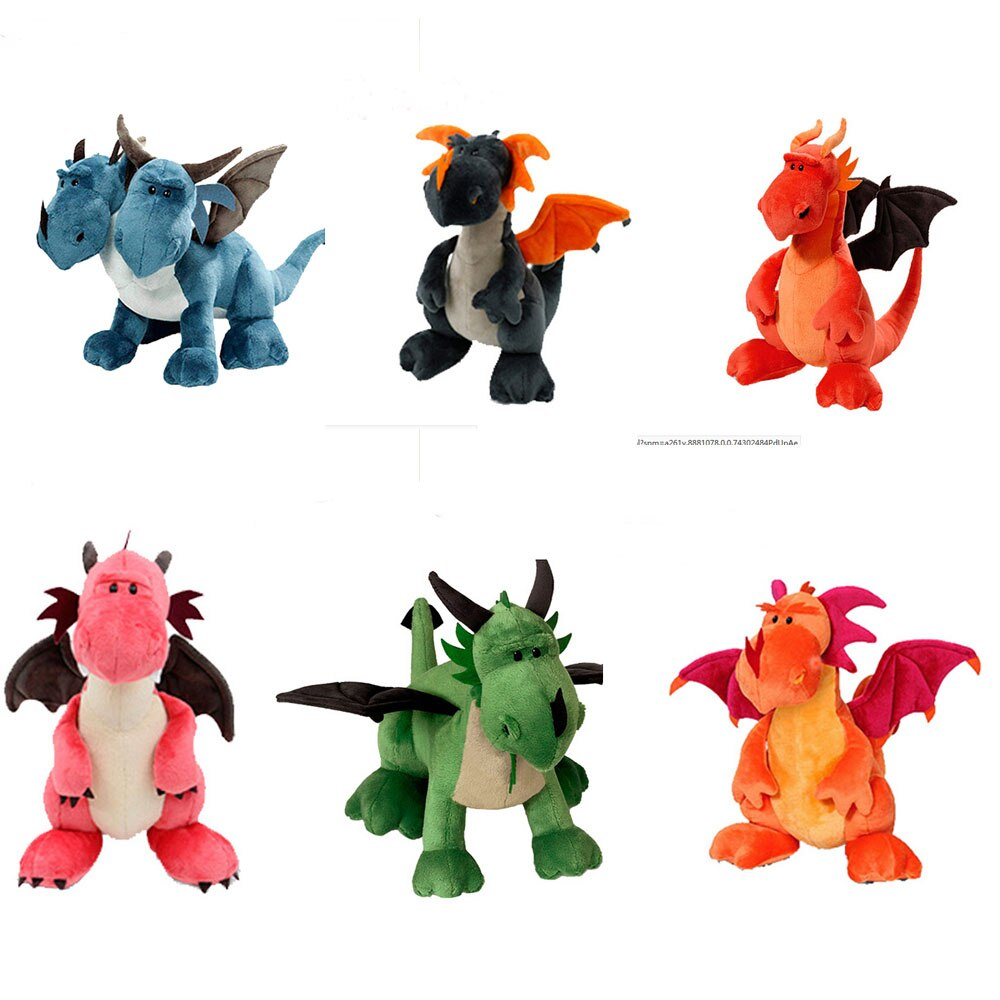 35 см динозавр плюшевые игрушки двухсторонние животные мягкие куклы картон аниме двухголовый дракон для детей мальчиков подарок