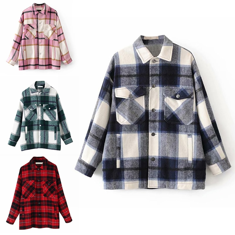 Plaid Overshirt Wool Blend Jacket Check Lapel Collar Long Sleeve Coat Women Oversized Pockets with Flaps Button Jackets Tops snap button hooded drop shoulder wool blend coat