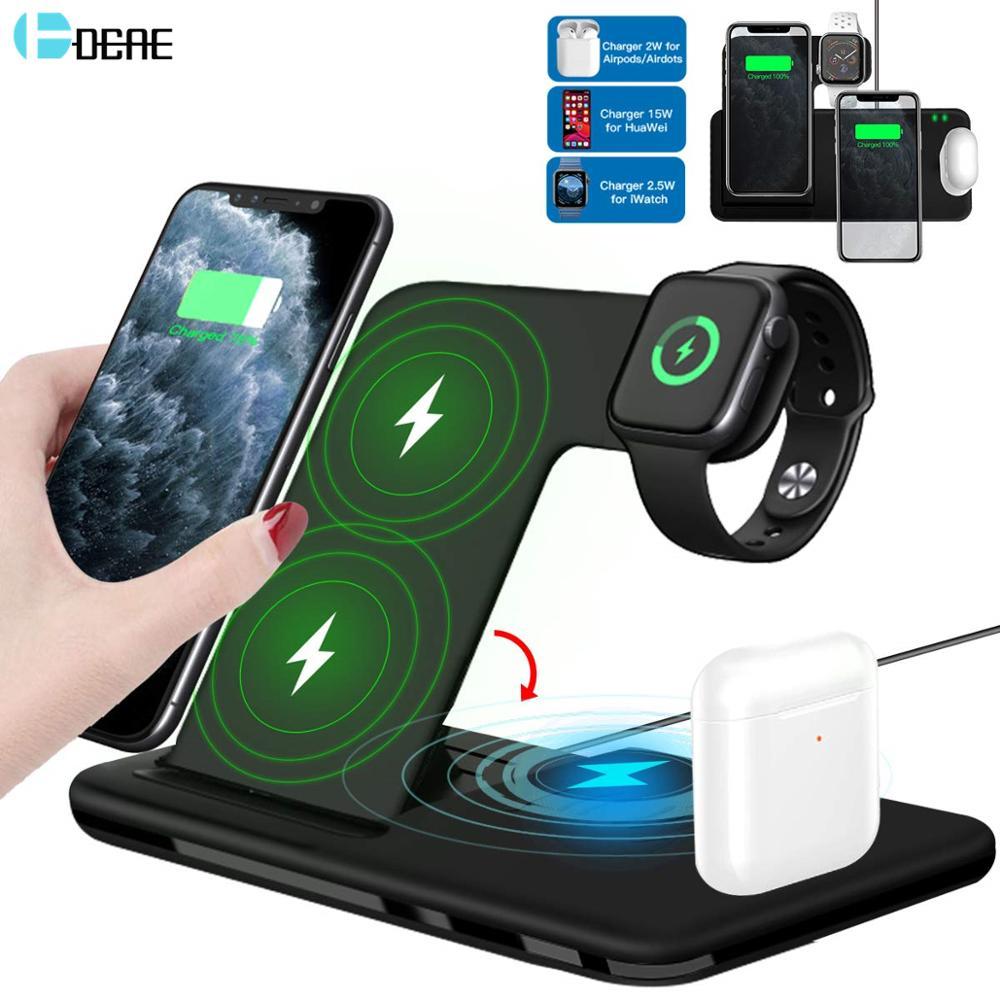 15 Вт Qi быстрая Беспроводная зарядная подставка для iPhone 11 12X8 Apple Watch 4 в 1 Складная зарядная док-станция для Airpods Pro iWatch | Мобильные телефоны и аксессуары | АлиЭкспресс