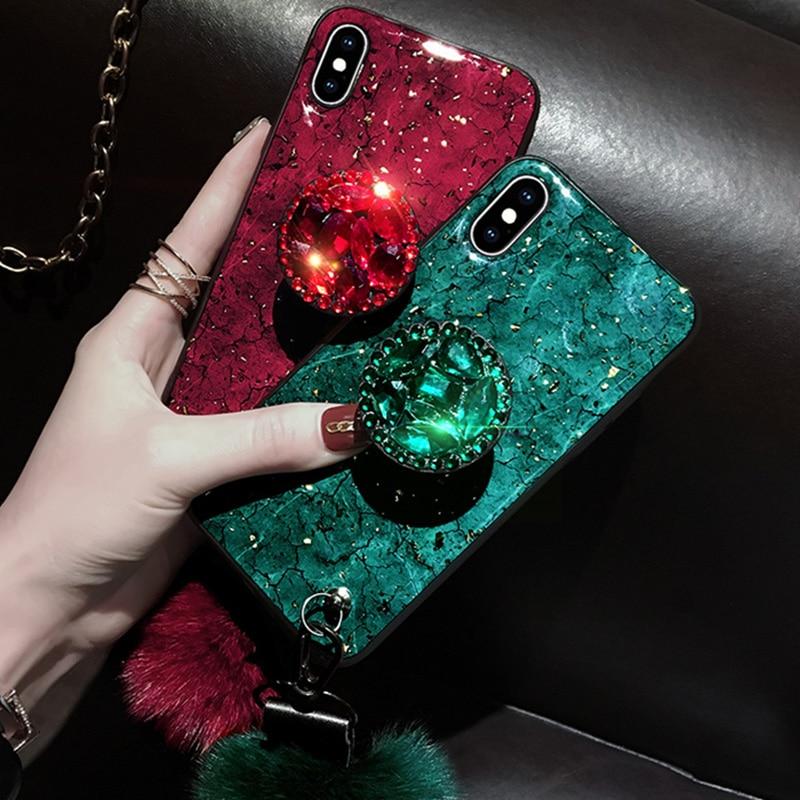 Soporte de cristal DIY + bola de piel + funda de teléfono con correa para iPhone 11 PRO MAX 6 6s 8 7 Plus XSMAX XR 5 5S SE Bling Glitter TPU Coque
