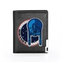 new arrivals cool starfleet printing pu leather wallet men women bank credit card holder short purse male standard wallets