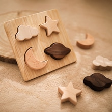 Wood Star Moon Jigsaw Puzzle Game for Preschool Learn Educational 1Set Baby Wooden 3d Puzzle Toy Bui