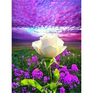 5d diy diamond painting flowers full square / round drill lavender white rose sticker diamond mosaic crafts