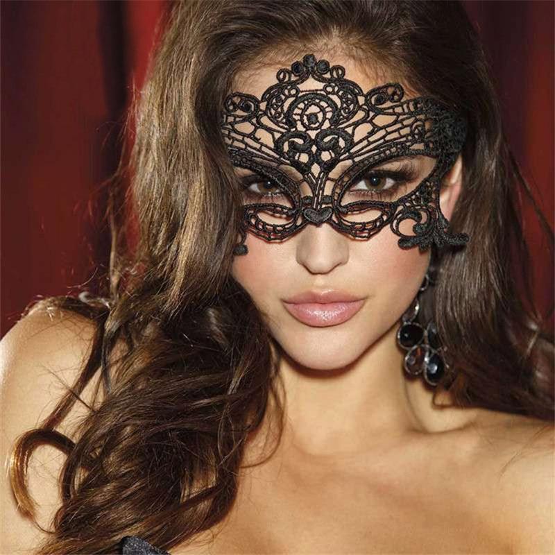 Máscara de ojo de encaje Sexy negra para mujer, máscaras de fiesta para disfraces venecianos para baile de máscaras o Halloween, máscara de Carnaval para sombreros anónimos