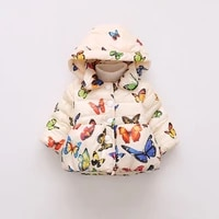 baby winter coats hooded butterfly print plus velvet infant girls jackets fashion kids clothing baby girl outerwear parkas