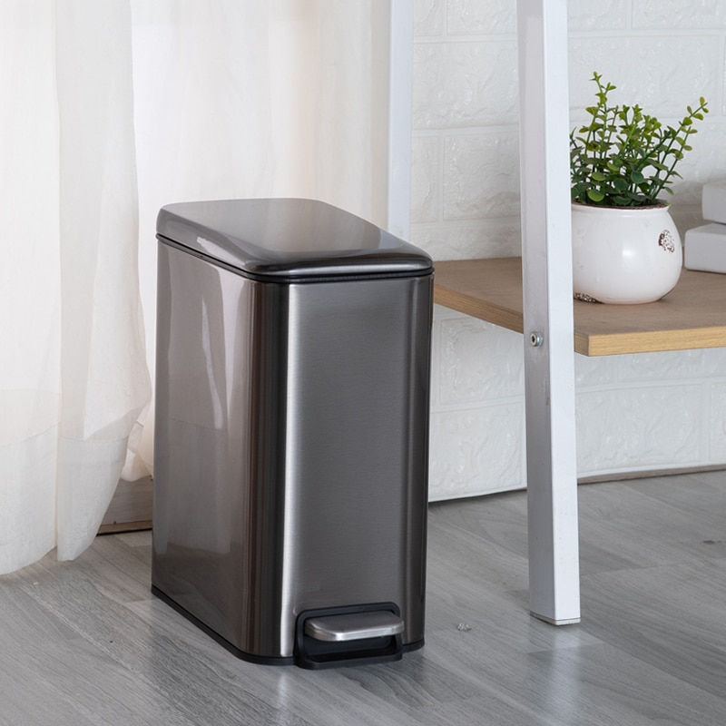 Stainless Steel Waste Bin Luxury Living Room Nordic Creative Rectangular Waterproof Trash Can Kitchen Cubo Basura Home Products enlarge