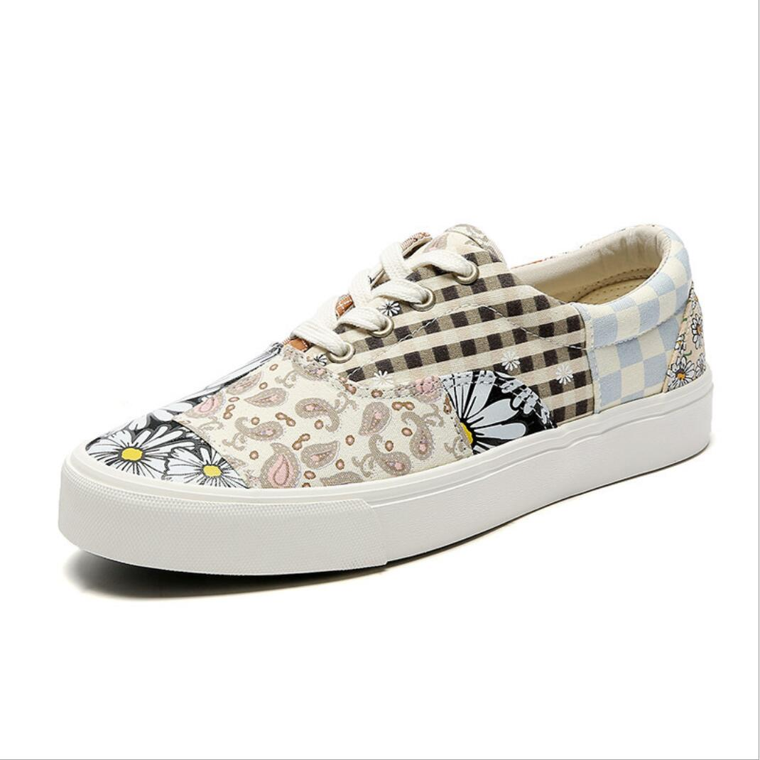 2021 New Retro Print Board Shoes Couples Splicing Canvas Sneaker Women's Casual Sneakers Boys Girls