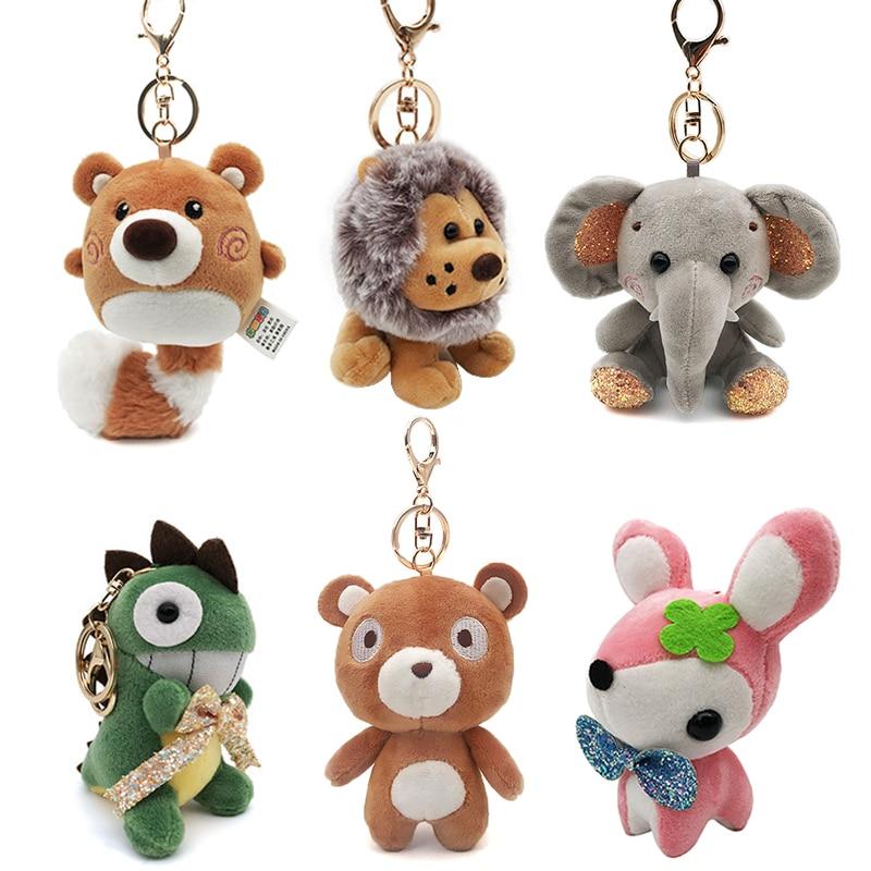 Cute Cartoon Animal Plush Toy Key chain Backpack Bag Keychain Bear Dog Elephant Dinosaur Lion Plum Deer Raccoon Shark Cute Gift