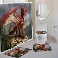34 pieces flying dragon shower curtains set chinese style carpet toilet mat 3d printing bedroom non slip set for bathroom decor
