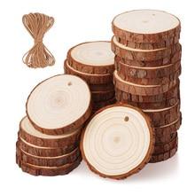 10 pièces de tranches de bois de pin naturel, Kit de bricolage en bois inachevé, pré-percé avec des cercles perforés, décorations de noël pour fête artistique, 3-6CM