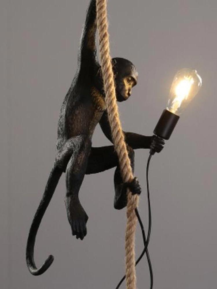 LED Resin Monkey Pendant Light SELETTI Black White Gold Modern Hemp Rope Lamps For Living Room Art Parlor Study Lights Lustre