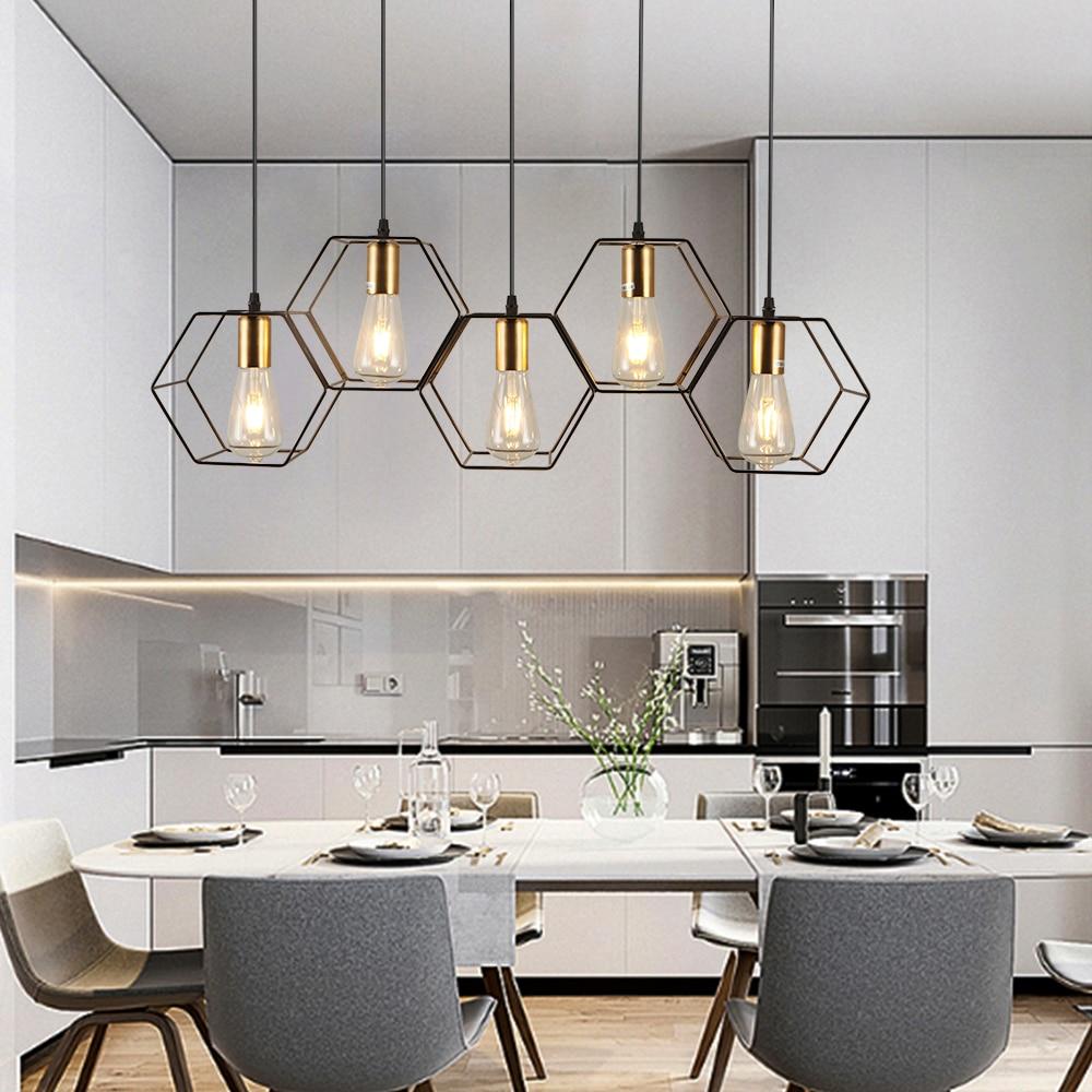 الحديثة الأسود قفص قلادة أضواء 3/5 أضواء الحديد الفن ضبط كابل قلادة مصابيح السقف لغرفة الطعام مصباح غرفة النوم لوفت E27