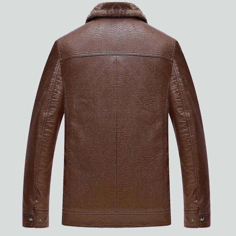 عارضة الشتاء بو الجلود سترة الرجال الدافئة قميص Jaqueta Masculino Couro M-4XL الأسود Chaqueta كويرو هومبر CJ225