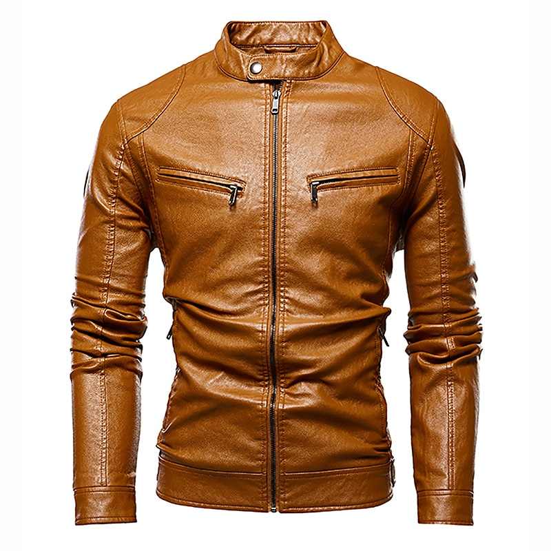 Thoshine Brand Leather Jackets Men Superior Quality Zip Fashion Outerwear Coats Stand Collar Man Spring Autumn Jackets Tops