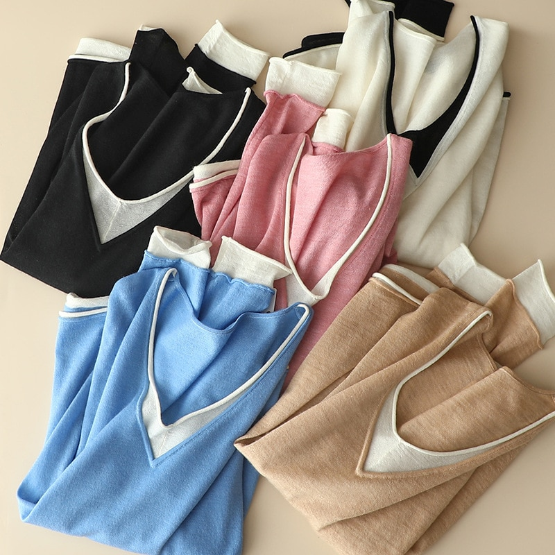 SHUCHAN Women Clothes 2021 Korean Fashion  V-Neck 100% Cashmere  Patchwork  Free Shipping Items Clothes for Women enlarge