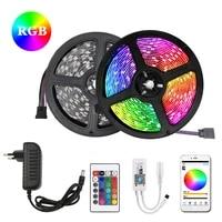 rgb led strip 5m 10m 15m waterproof led neon light 2835 5050 dc12v flexible lighting ribbon tape controller adapter set