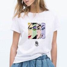 Kadın yaz grafik Tee Femme komik peri masalı kötüler Vogue Harajuku T Shirt kore Tops Kawaii Streetwear Camiseta Mujer