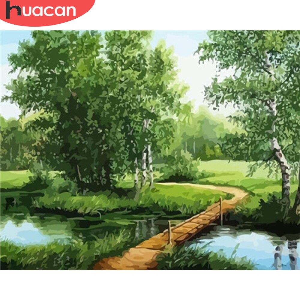 HUACAN peinture par numéros paysages Kits dessin toile peint à la main coloriage arbre photos décoration de la maison Art cadeau