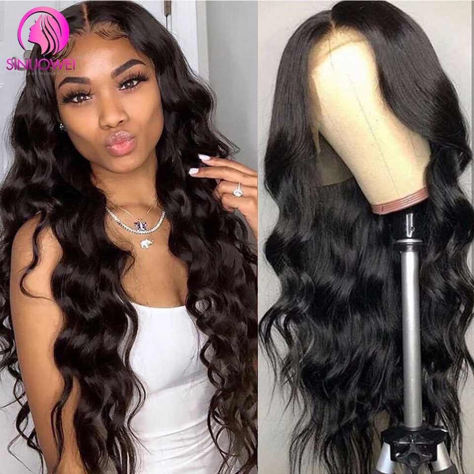 Sinuowei 13X1 Body Wave T Part Lace Human Hair Wigs Brazilian 150% Density T Lace Remy Human Hair Wig For Black Women 10-28Inch
