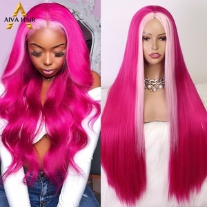 AIVA Hot Pink Synthetic Wig Long Straight Highlight Non-Lace Wig High Temperature Fiber Cosplay Synthetic Wigs For Black Women