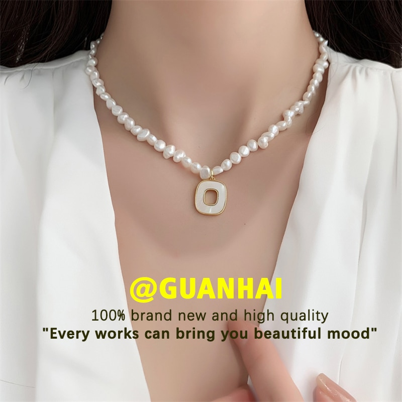 Geometric Square Pendant Pearl Necklace Ladies Fashion Simple Baroque Chokers Clavicle Jewelry Girlfriend Gift
