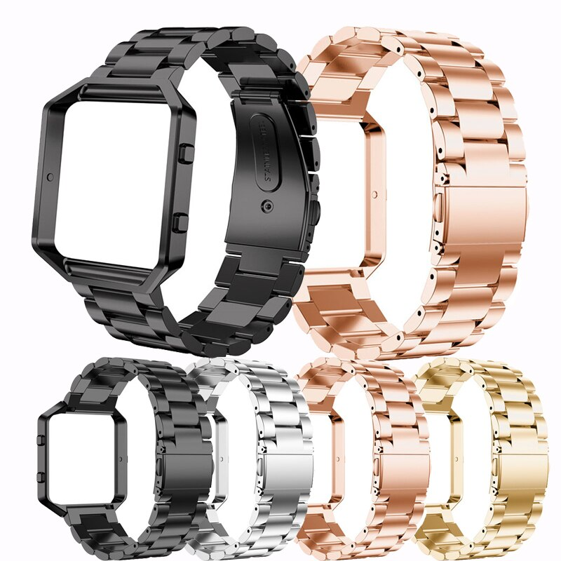 new sport Stainless Steel Watch Band Strap With table Frame Case Cover For Fitbit Blaze Replacement WristBand Watchband Bracelet men and women sport casual edition soft silicon rubber sports watch band wrist strap for fitbit blaze with metal buckle frame