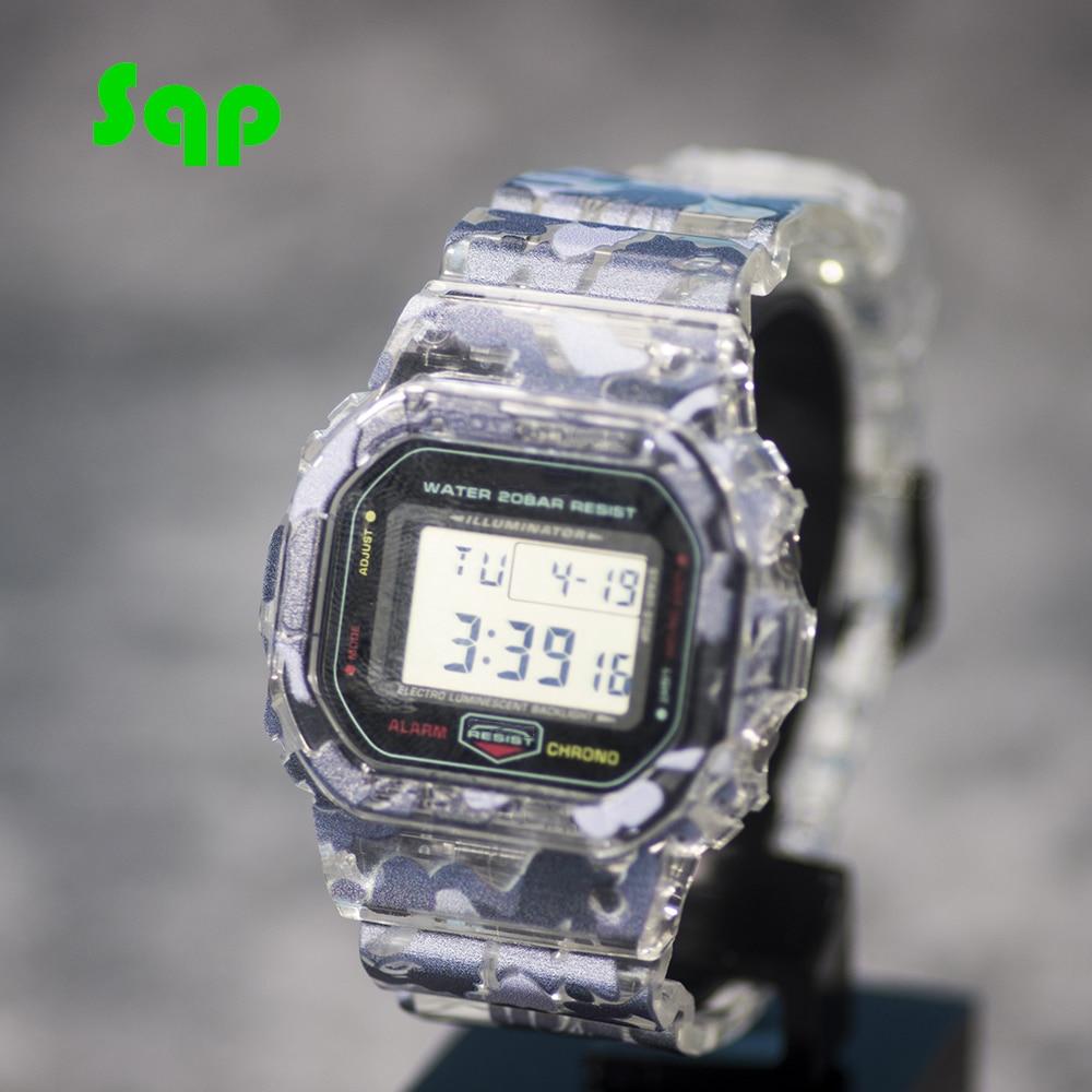 Gris camuflaje 3D pintura DW5600/5610 reloj conjunto bisel Correa deportes goma impermeable