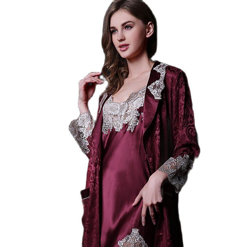 Pure Silk Robe Couple Long-Sleeve 100% Silk Robe Sleepwear Bathrobe Dressing Gown Lovers Silk Kimono Homer Z33
